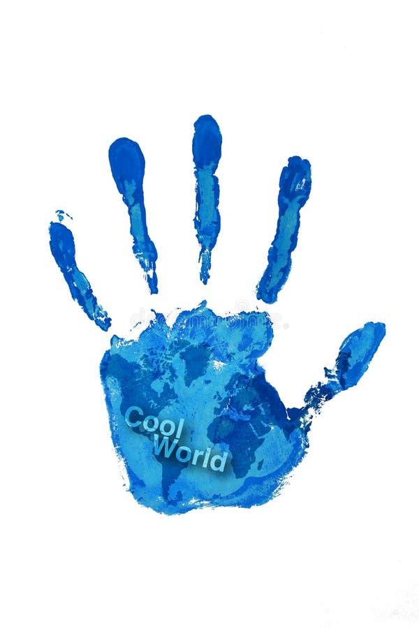 Het af:drukken van de hand blauwe kleur op wereldkaart stock illustratie
