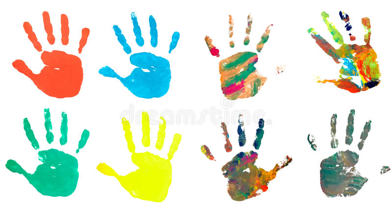 Het af:drukken van de hand de verf van het de ambachtspoor van de kleurenkunst stock fotografie