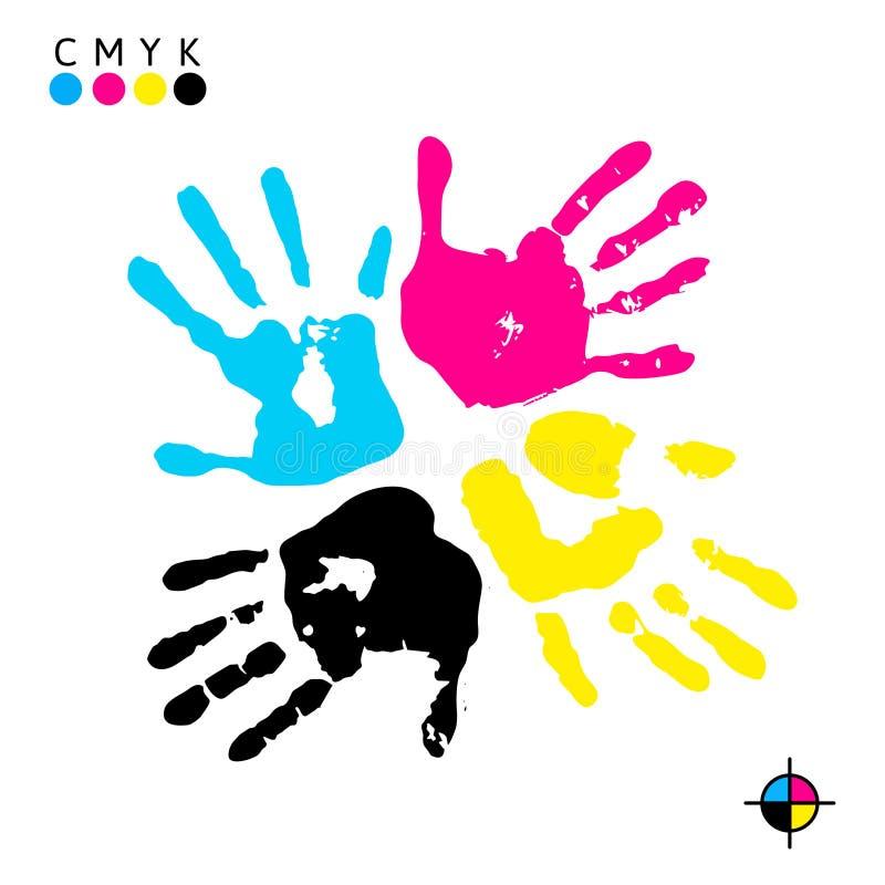 Het af:drukken van de hand Handdrukken van verschillende kleuren - symbool CMYK vector illustratie