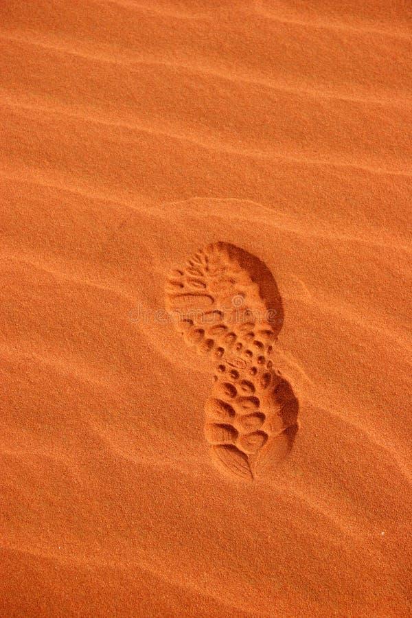 Het af:drukken van de voet in de Woestijn royalty-vrije stock foto's