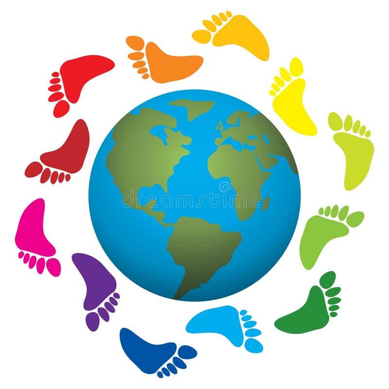 Het af:drukken van de voet rond de aarde stock illustratie