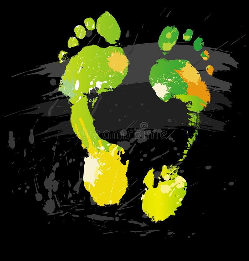 Het af:drukken van de voet van kleurenplonsen en lijnborstels royalty-vrije illustratie