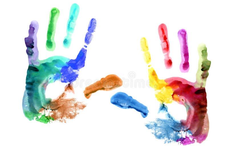 Het af:drukken van handen. royalty-vrije illustratie
