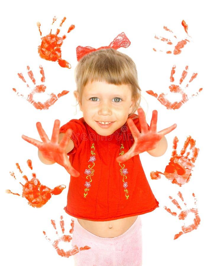 Download Het Af:drukken Van Het Meisje En Van Palmen Stock Afbeelding - Afbeelding bestaande uit rood, tekening: 10784061