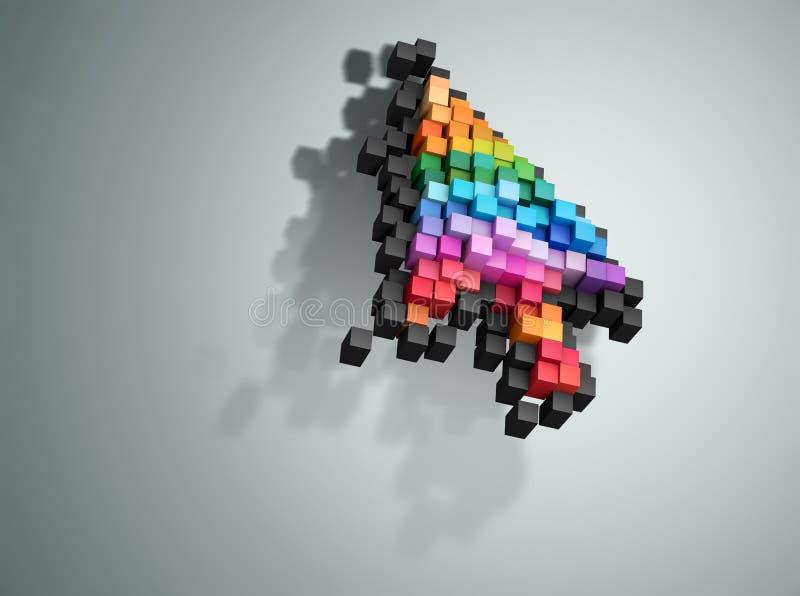 Het afbrokkelen de muis van de het pixelcomputer van de curseurkleur stock illustratie