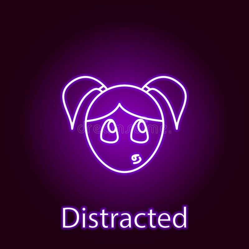 het afgeleide pictogram van het meisjesgezicht in neonstijl Element van emoties voor mobiele concept en Web apps illustratie De t stock illustratie