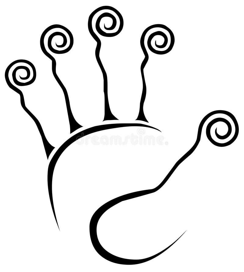 Het afgetaste Pictogram van het Embleem van de Hand vector illustratie