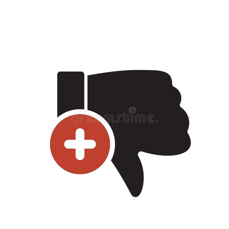 Het afkeerpictogram, gebarenpictogram met voegt teken toe Afkeerpictogram en nieuw, plus, positief symbool royalty-vrije illustratie
