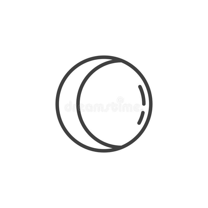 Het afnemende gibbous pictogram van de maanlijn vector illustratie