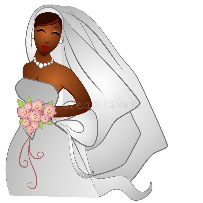 Het Afrikaanse Amerikaanse Glimlachen van de Bruid vector illustratie