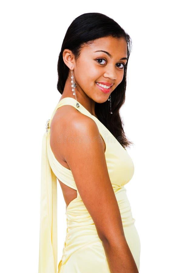 Het Afrikaanse Amerikaanse Glimlachen van de Tiener royalty-vrije stock foto's