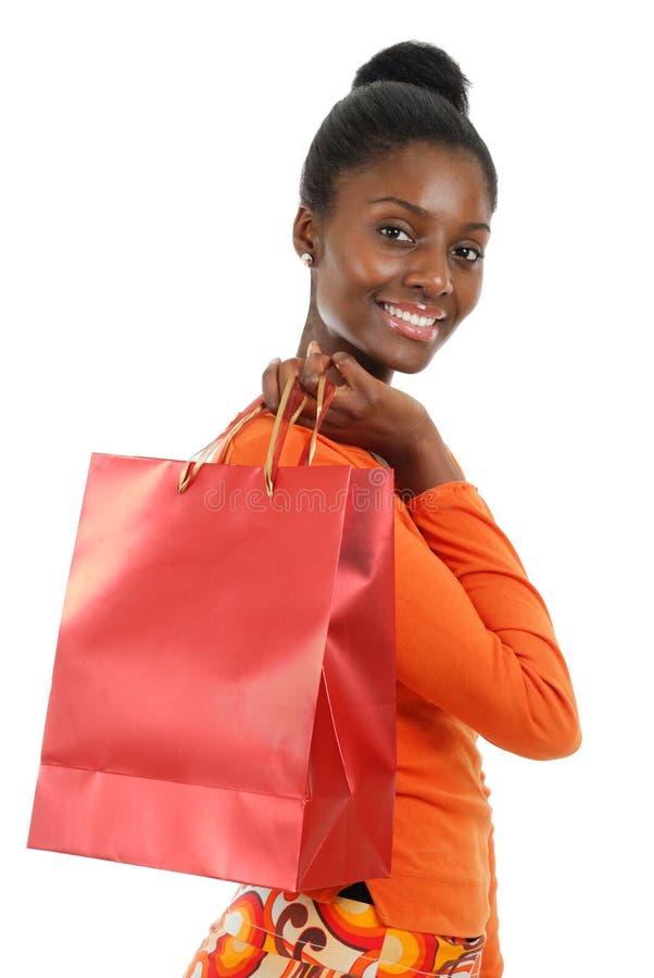 Het Afrikaanse Amerikaanse vrouw winkelen royalty-vrije stock fotografie