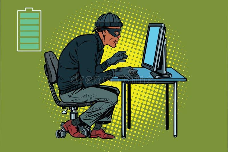 Het Afrikaanse hakkerdief binnendringen in een beveiligd computersysteem in een computer royalty-vrije illustratie