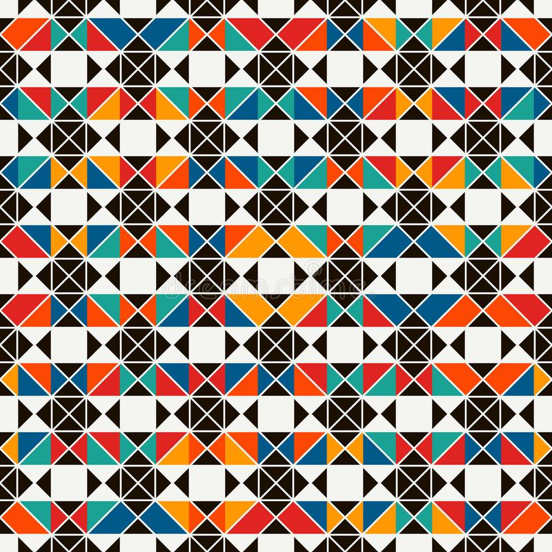 Het Afrikaanse patroon van de stijl naadloze oppervlakte met abstracte cijfers Heldere etnische druk Geometrische sierachtergrond vector illustratie