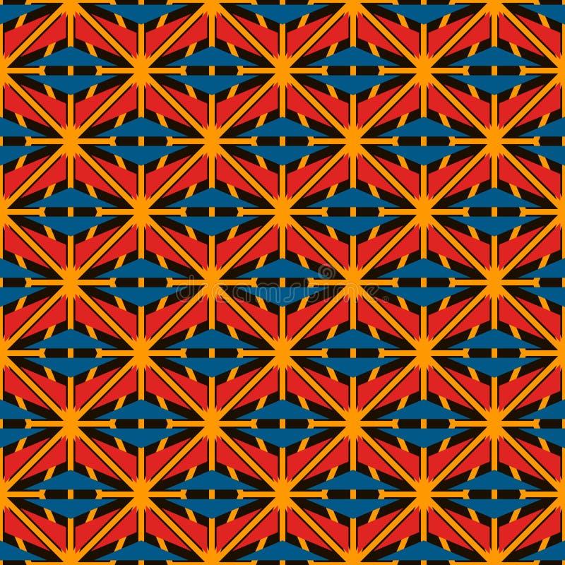 Het Afrikaanse patroon van de stijl naadloze oppervlakte met abstracte cijfers De heldere etnische en stammen geometrische vormen royalty-vrije illustratie