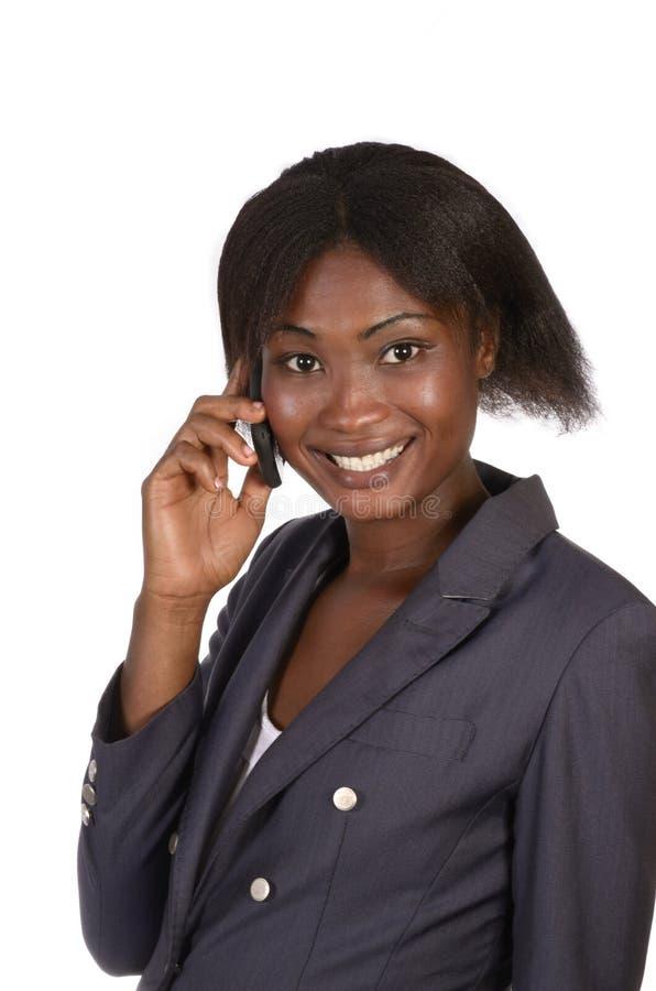 Het Afrikaanse spreken Bedrijfs van de Vrouw royalty-vrije stock foto