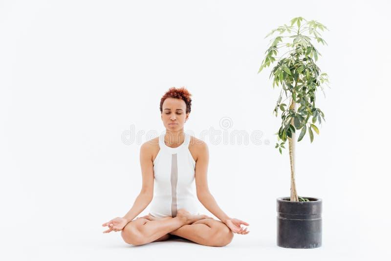 Het Afrikaanse vrouw mediteren in lotusbloem stelt dichtbij boom in pot royalty-vrije stock foto's