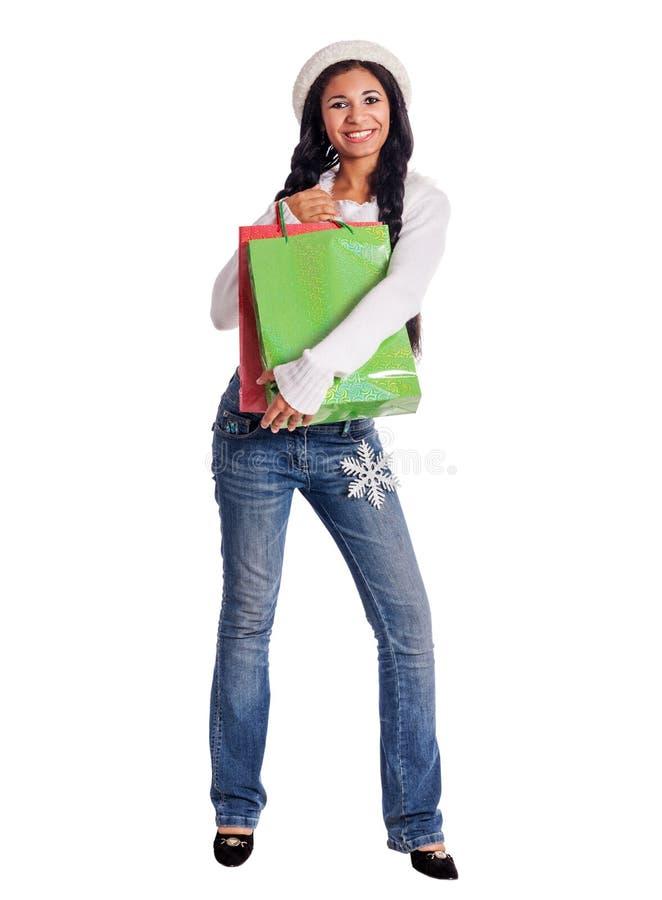 Het Afrikaanse vrouw winkelen royalty-vrije stock afbeelding
