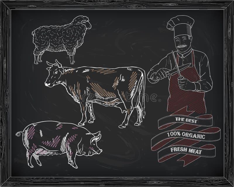 Het afslachten rundvleesdiagram, varkensvlees, lam en kok stock illustratie