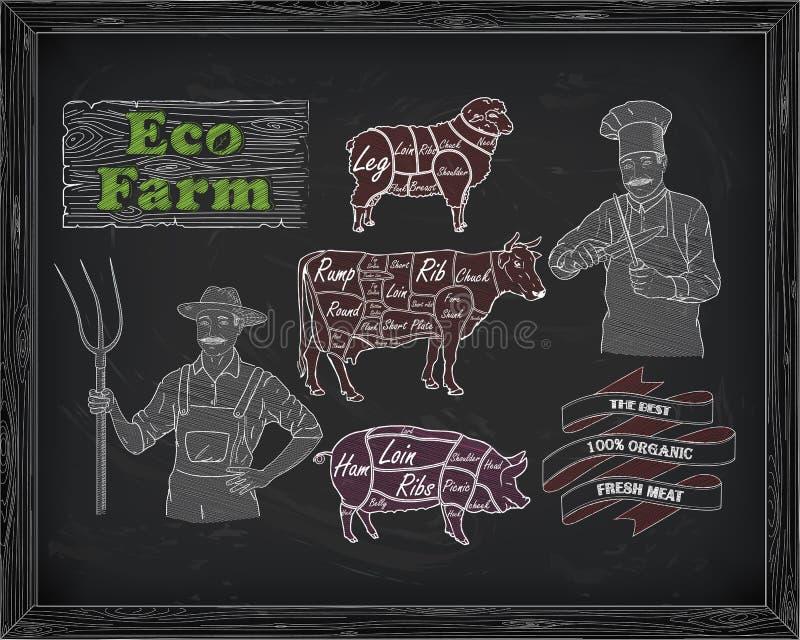 Het afslachten rundvleesdiagram, varkensvlees, lam en landbouwer, kok vector illustratie
