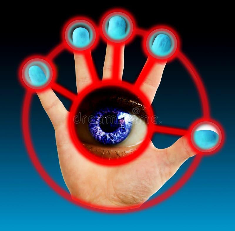 Het Aftasten van de vinger en van het Oog stock afbeelding