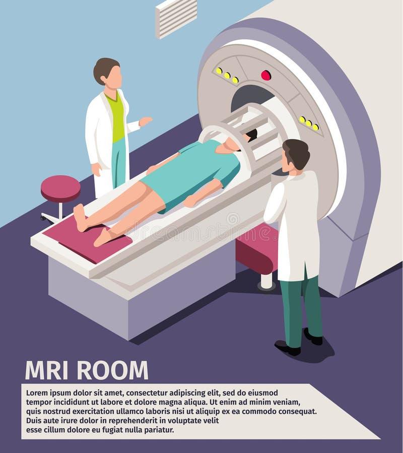 Het aftasten van het geneeskundeconcept MRI en diagnostiek Geduldige het liggen scannermachine in het ziekenhuis royalty-vrije illustratie