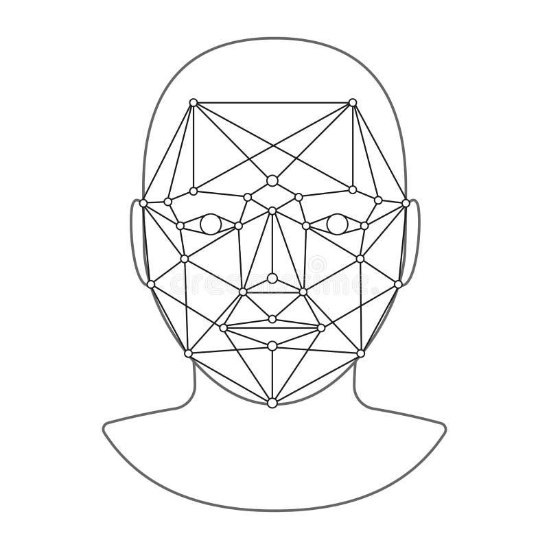 Het aftasten van persoon door punten Lage veelhoekaanduiding Erkenning van het gezicht van de mens, identificatie, bepaling van d stock illustratie