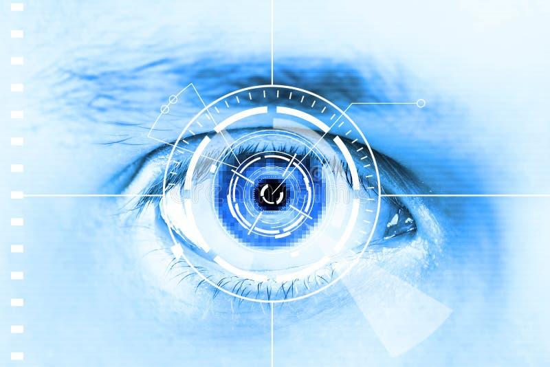 Het aftastenoog van de technologie voor veiligheid of identificatie stock illustratie