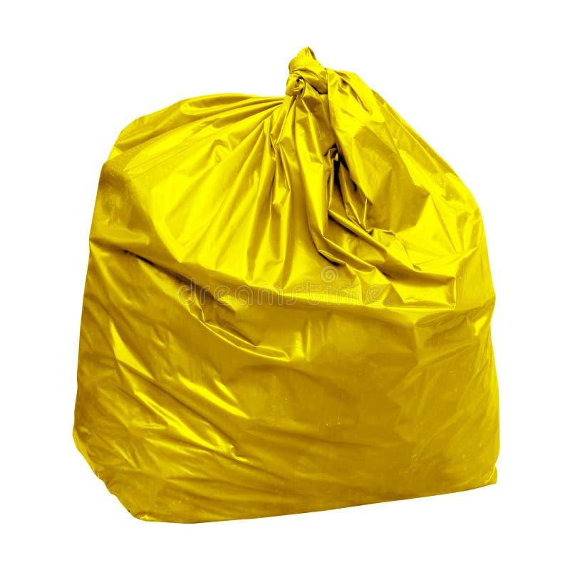 Het afval, geel vuilniszakplastiek met concept de kleur van gele vuilniszakken is rekupereerbaar die afval op witte achtergrond w royalty-vrije stock foto