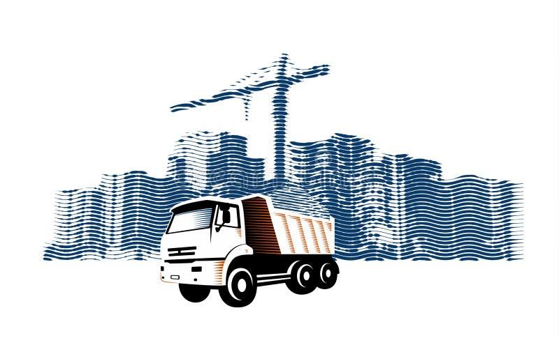 Het Afval van de verwijderingsbouw van Bouwterrein door Grote Vrachtwagenauto met Dumpster Vectorillustratie in Gravurestijl stock illustratie