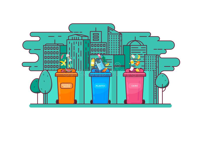 Het afval van het Ecologicconcept het sorteren in de containers stock illustratie