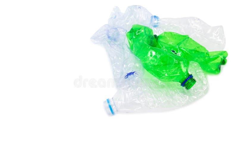 Het afval van plastic flessen voor recycling zal worden gerecycleerd, Concept het recycling van de Lege gebruikte plastic fles stock foto