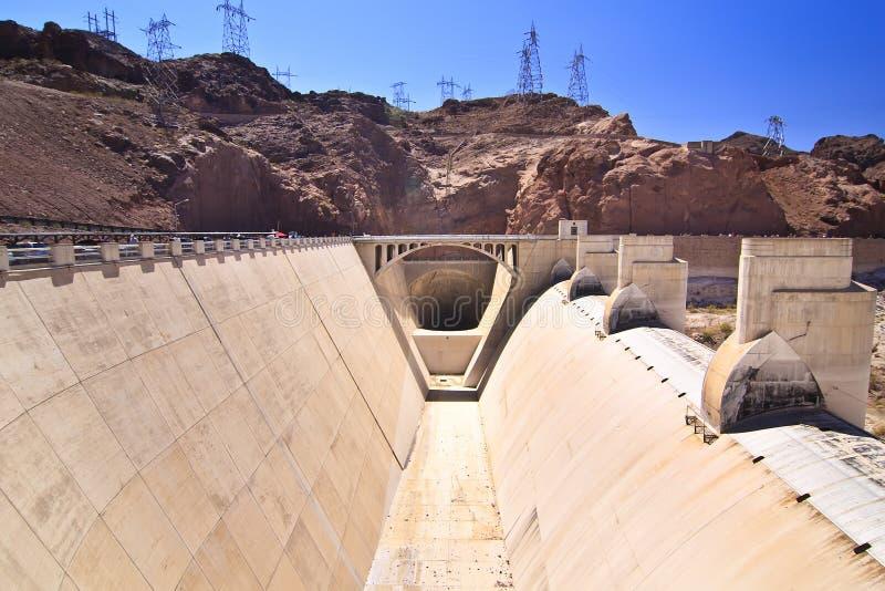 Het Afvoerkanaal van de Dam van Hoover stock afbeeldingen