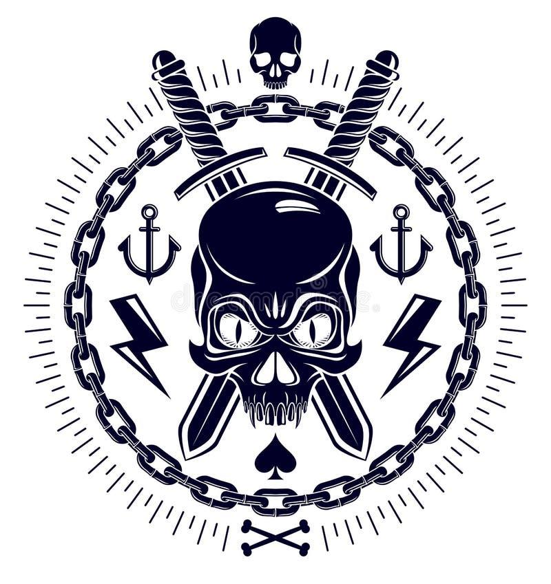 Het agressieve embleem Jolly Roger van de schedelpiraat met wapens en andere ontwerpelementen vector illustratie