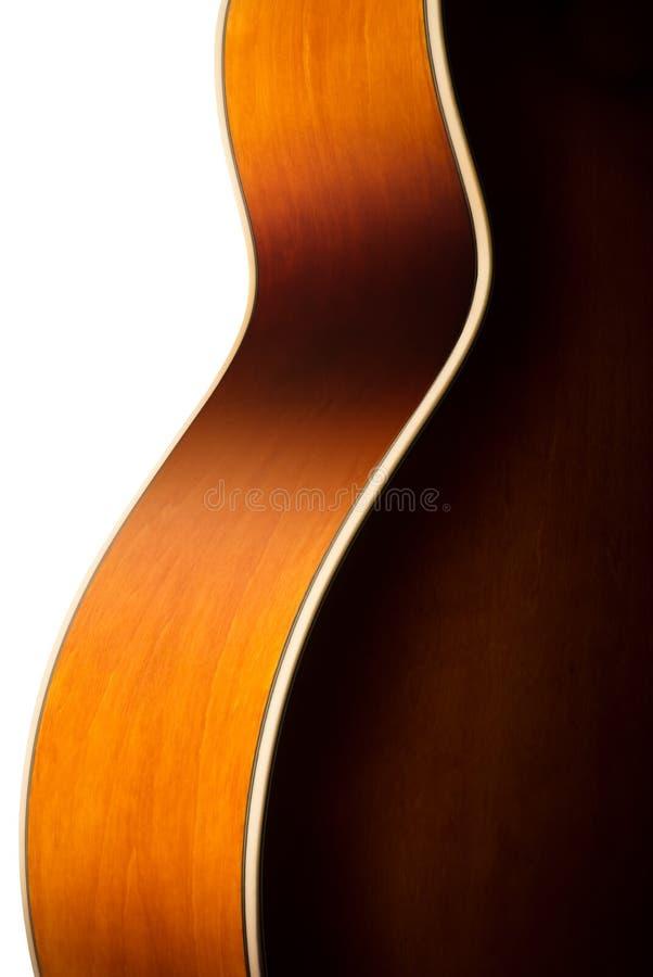 Het akoestische detail van het gitaarlichaam royalty-vrije stock foto's
