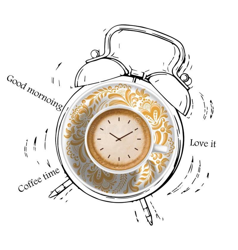 Het alarm van de koffietijd royalty-vrije stock foto's