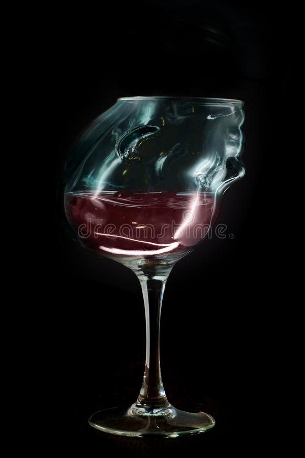 Het alcoholische Concept van de Wijnverslaving stock foto's
