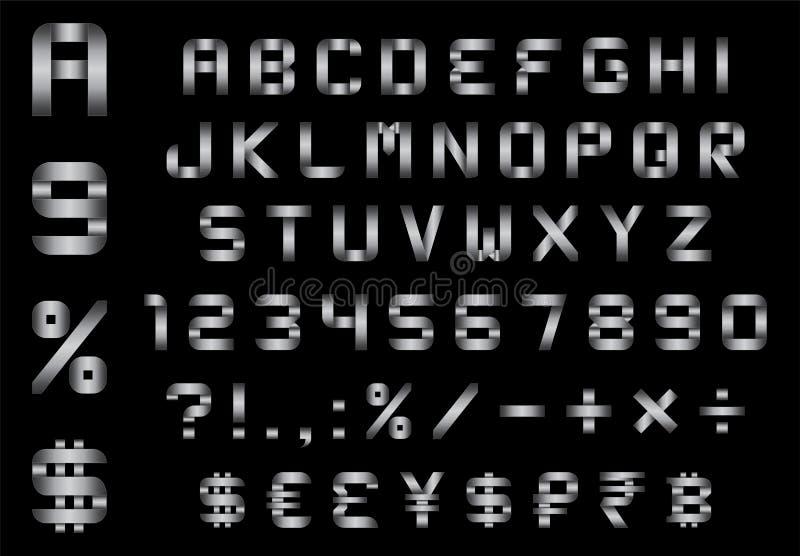 Het alfabet, de aantallen, de munt en de symbolen pakken - rechthoekige gebogen metaaldoopvont in stock illustratie