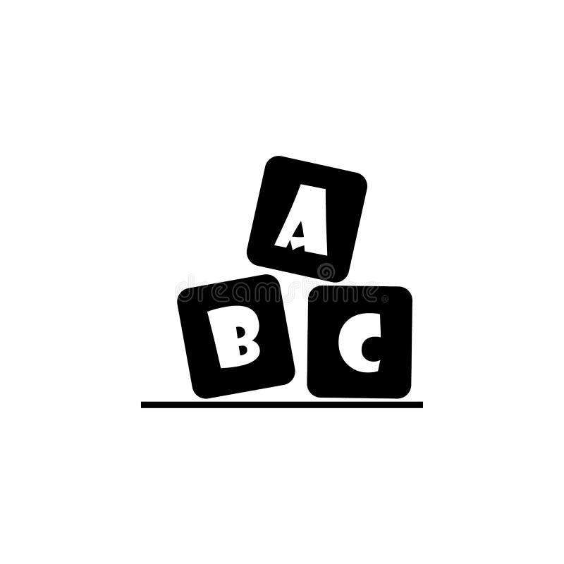 Het alfabet kubeert met brieven A, B, c-pictogram stock illustratie