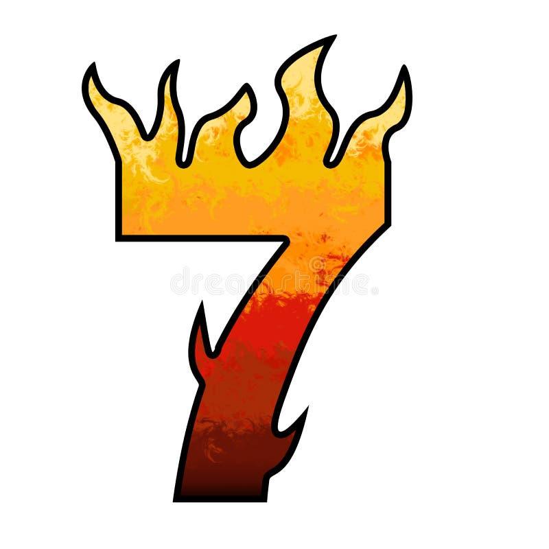 Het Alfabet nummer 7 zeven van vlammen royalty-vrije illustratie