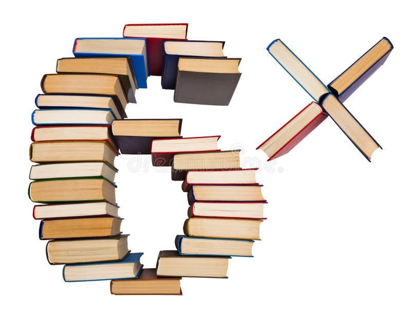 Het alfabet uit boeken, cijfers 6 wordt gemaakt die en vermenigvuldigt zich stock afbeeldingen