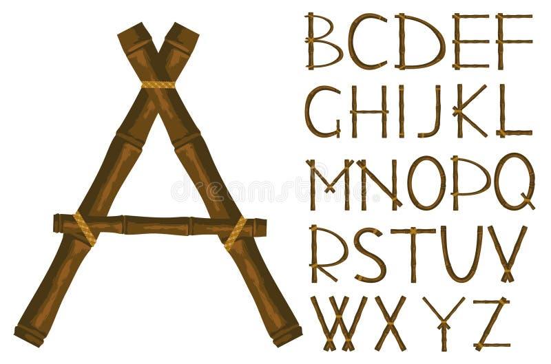 Het alfabet van bamboe stock illustratie