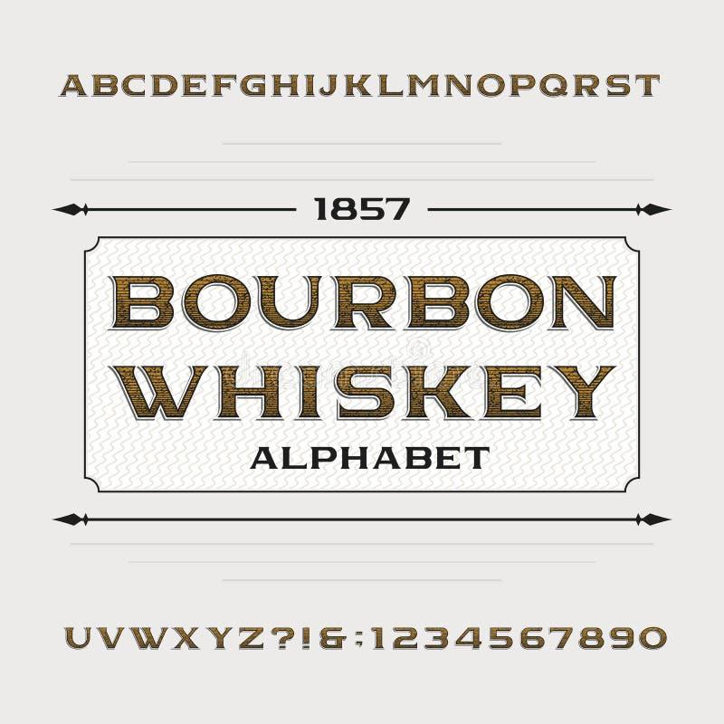 Het alfabet van de bourbonwhisky Retro verontruste alfabet vectordoopvont Letters en getallen royalty-vrije illustratie