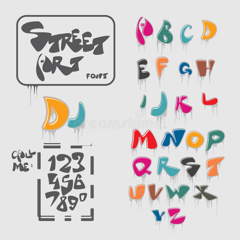 Het alfabet van de graffitilettersoort royalty-vrije illustratie
