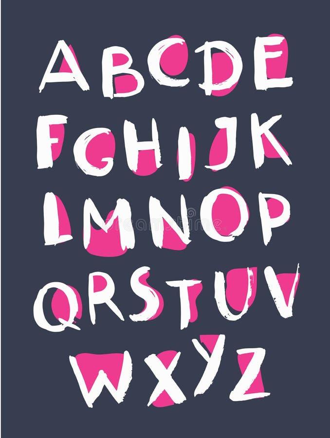 Het alfabet van de Grungestijl Met de hand geschreven doopvont royalty-vrije illustratie
