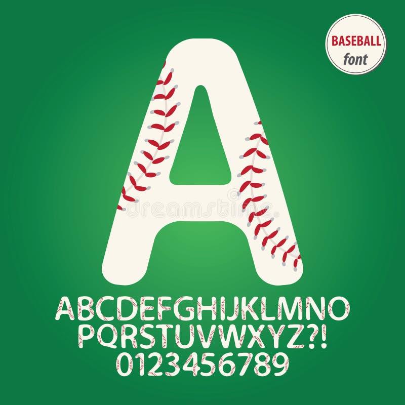Het Alfabet van de honkbalbal en Cijfervector vector illustratie