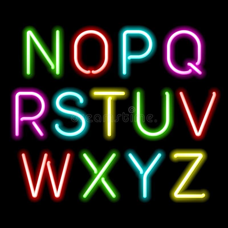 Het alfabet van de neongloed royalty-vrije illustratie
