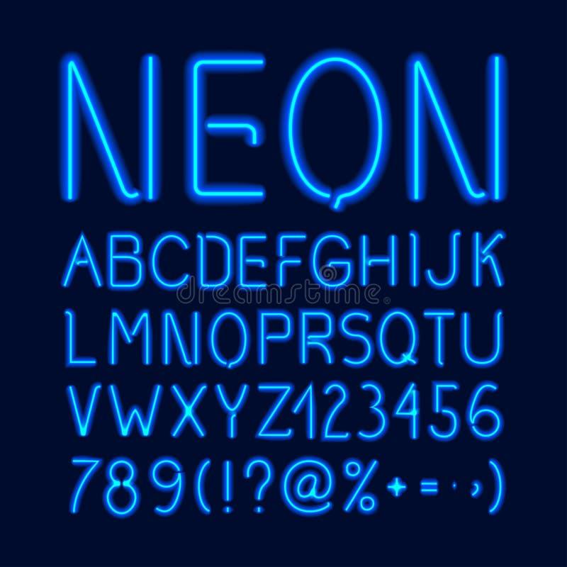 Het alfabet van de neongloed stock illustratie