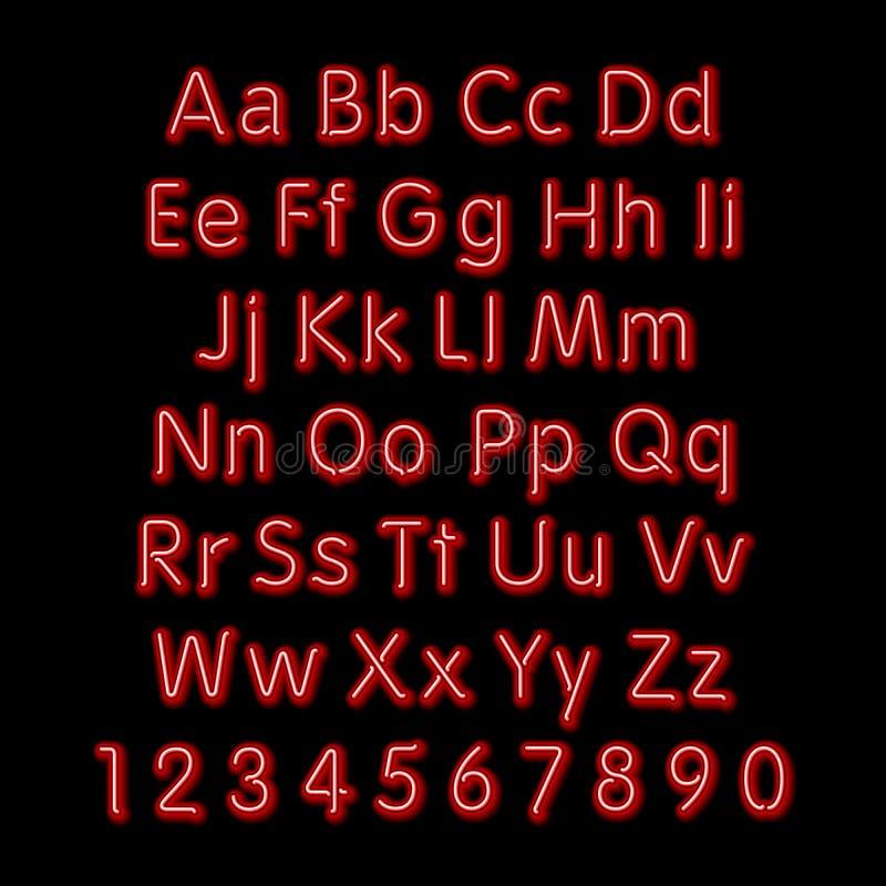 Het alfabet van de neongloed Vector ontwerp, 3d partij, retro, kunst, doopvont, stock illustratie