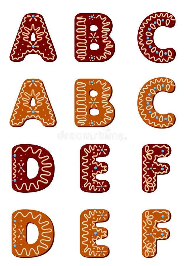 Het alfabet van de peperkoek van A aan F vector illustratie